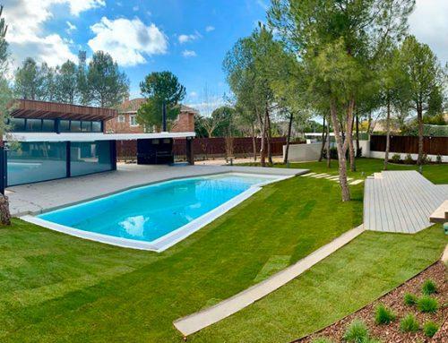 Diseño de jardín unifamiliar en la Urbanización de Las Lomas de Madrid